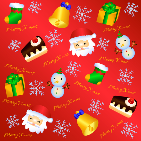A seamless pattern with christmas icons. Lovely Christmas Background for your desktop and printing. Çizim