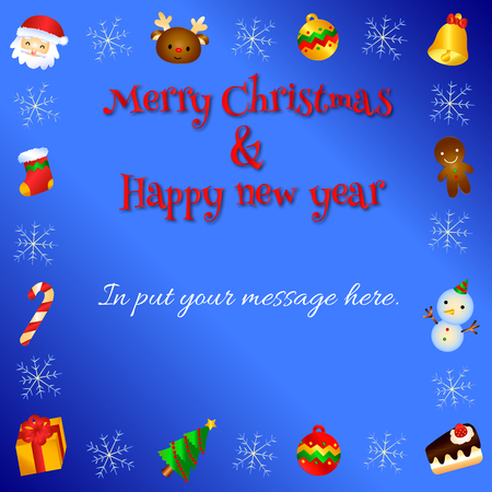 Lovely greeting card designed with different christmas icons.