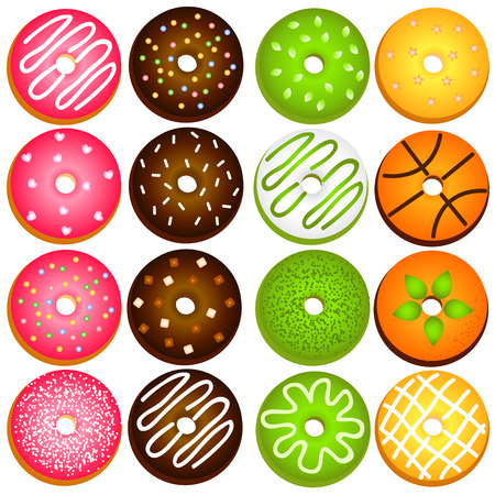 Donuts variety on transparent background.