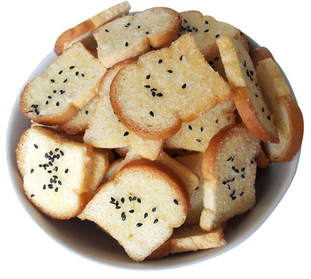Crispy suger and butter Bread sprinkle with sugar and black sesame Stock Photo