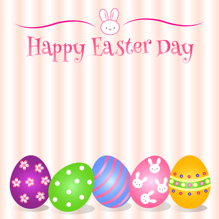 Lovely Easter Day with variety cute egg and pretty background Illustration