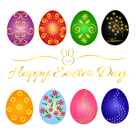 Beautiful Easter Day with variety beautiful egg place on transparent background