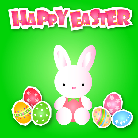 Lovely Easter Day with variety cute egg and pretty rabbit on colorful background