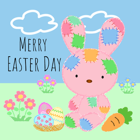 Lovely Easter Day with pretty and fluffy rabbit and variety cute egg and carrot on beautiful background