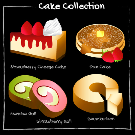 Picture with many kinds of cake. For use as an illustration.