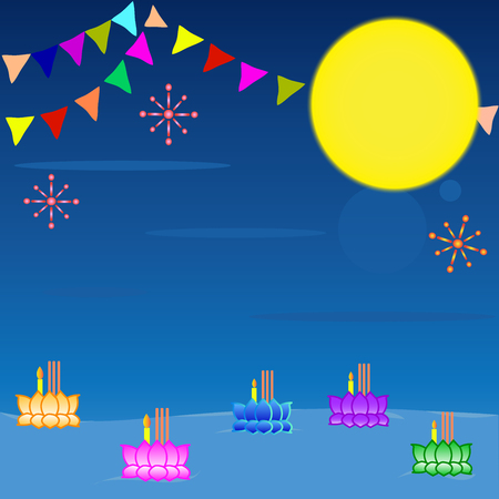 Loi Krathong Festival of Thailand with moon and banners and candles Ilustração