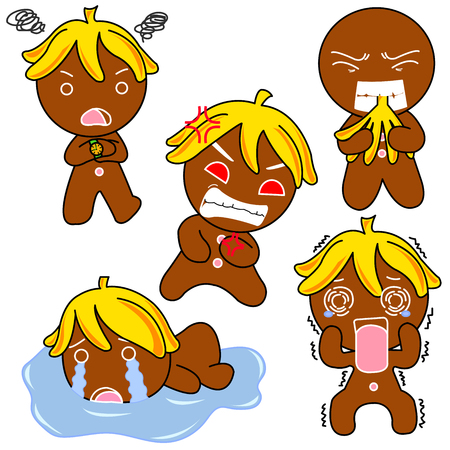 Ginger Bread  pictures used as illustrations. Which has a variety of emotions.  イラスト・ベクター素材