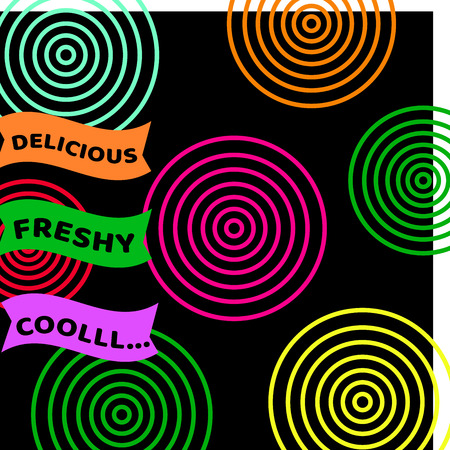 Colorful circle on black background and message for beverage use for wallpaper or background Illustration