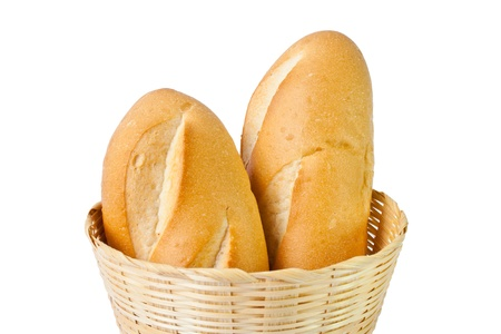 Two baguettes in basket Stock Photo
