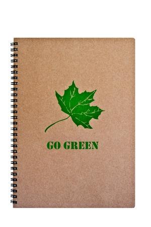 Guarde La Palabra Mundo En El Cuaderno Marrón Con Hojas Verdes