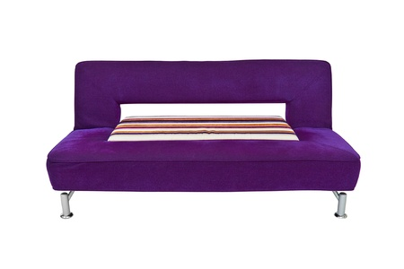 furniture, purple sofa on white background photo