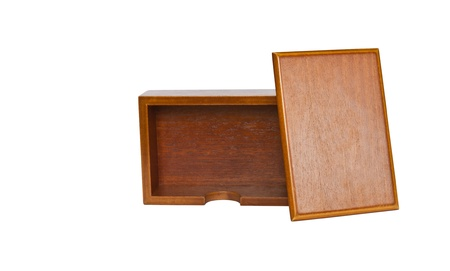 Brownisolated  wooden card holder photo