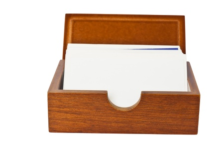 Brown isolated  wooden card holder photo