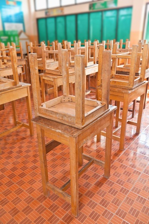Wooden tables and chairs  in the classroom photo