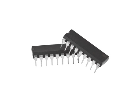 IC - Integrated Circuit in white background Stock Photo