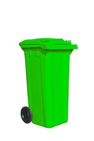 Большой зеленый мусор с колесом в белом фоне