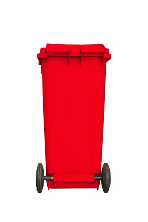 Large red garbage bin with wheel in white background Stock Photo - 13251689