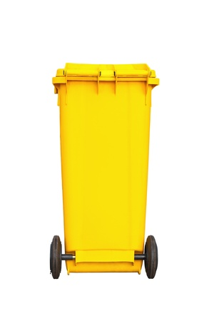 Large yellow garbage bin with wheel in white background