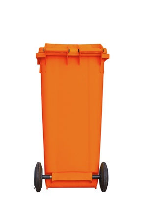 Large orange garbage bin with wheel in white background Stock Photo - 13251690