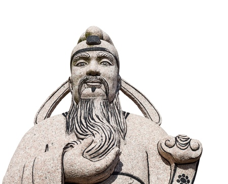 Stone ancient of Chinese man statue in white background