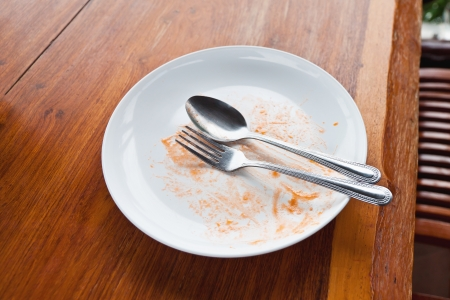 Empty dish after food an the table photo