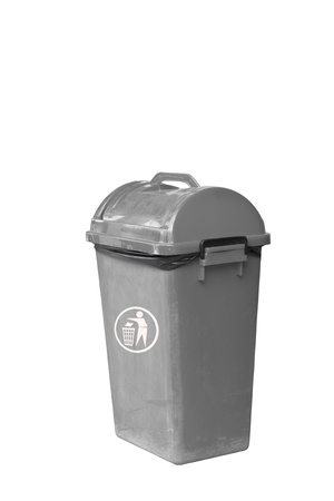 Small grey garbage bin with black garbage bag