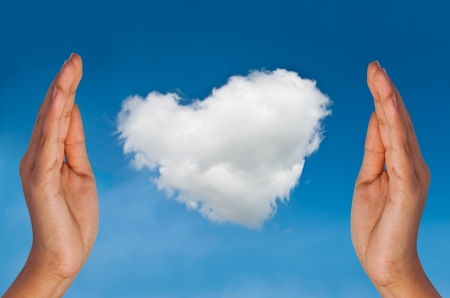 Make a cloud heart in sky by hands
