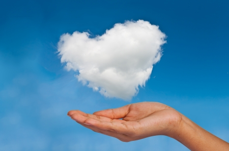 Give cloud heart to you by hand photo