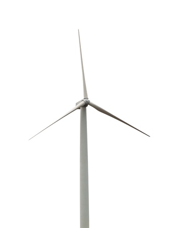 Wind turbine isolated on white background Stock Photo