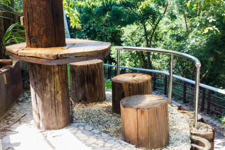 Outdoor furniture table and chairs by timber
