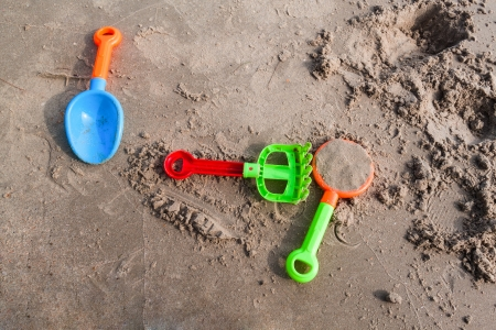 Plasic sandbox on the beach, kid playground Stock Photo