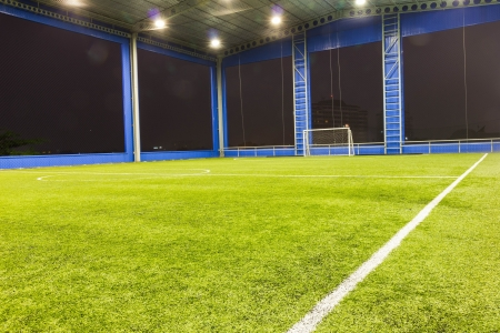 Indoor Football  soccer  goal and field Stock Photo