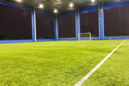 Indoor Football  soccer  goal and field Archivio Fotografico