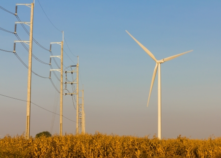 Wind turbine with transmission lines and field photo