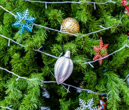 Decorated christmas tree in closeup