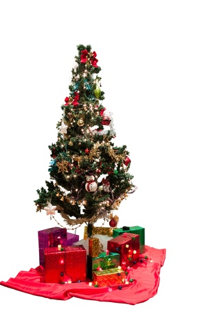 Decorated christmas tree in white background photo