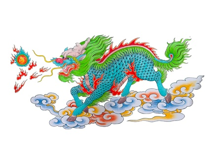 Drawing of colorful Chinese dragon with fire on white background