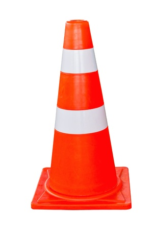 Orange and white traffic cone in white background Stock Photo - 16754067