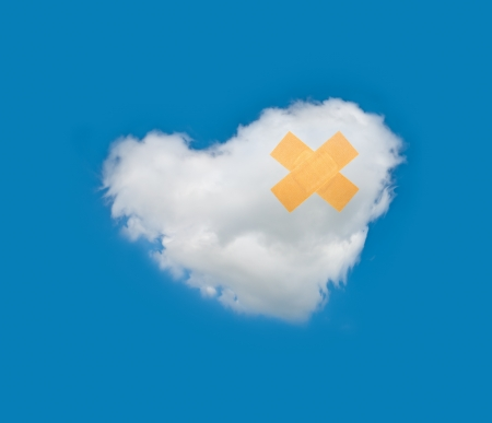 Recovery cloud heart in blue sky from broken photo
