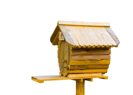 Bird wooden house letter box in white background photo