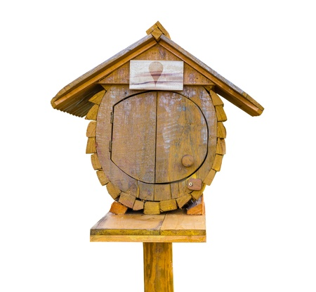 Bird wooden house letter box in white background Stock Photo - 17587810