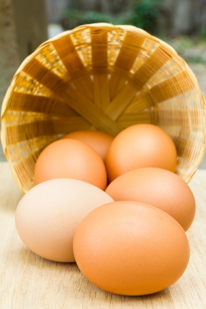 Fresh eggs in wooden basket photo