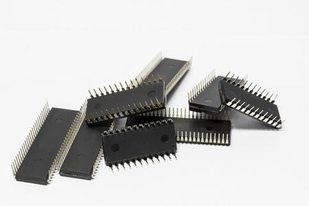 ttl: IC - Integrated Circuit in white background Stock Photo