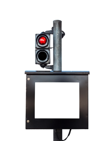 Monitor and red light at toll-fee booth in white background