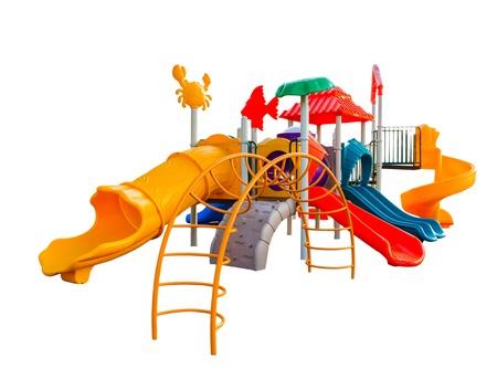 白い背景の上の子供のためのカラフルな遊び場 写真素材