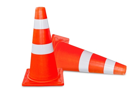 Two orange and white  traffic cone on white background photo