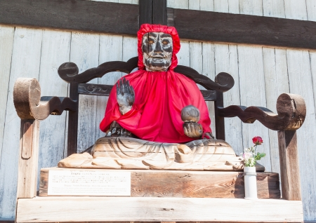todaiji: NARA, JAPAN - SEP 8  Binzuru Pindola wooden statue in Todai-ji Temple, Nara, Japan on Sep 8, 2011  Japanese believed that when a person rubs a part of this statue, his ailment there will disappear