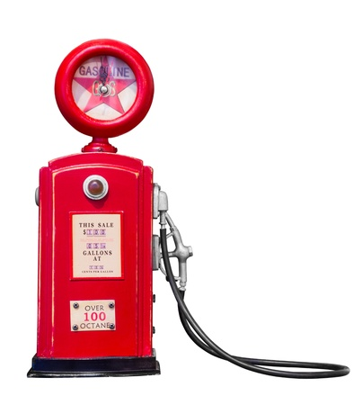 Red vintage gasoline pump on white background with clipping path Stock Photo - 20860280