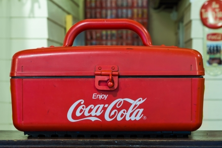 refrigerate: Cooler box of Coca-Cola from Bann-Coke shop  in Suphanburi, Thailand