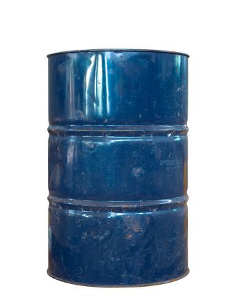 Rusty metal oil barrel on white Archivio Fotografico
